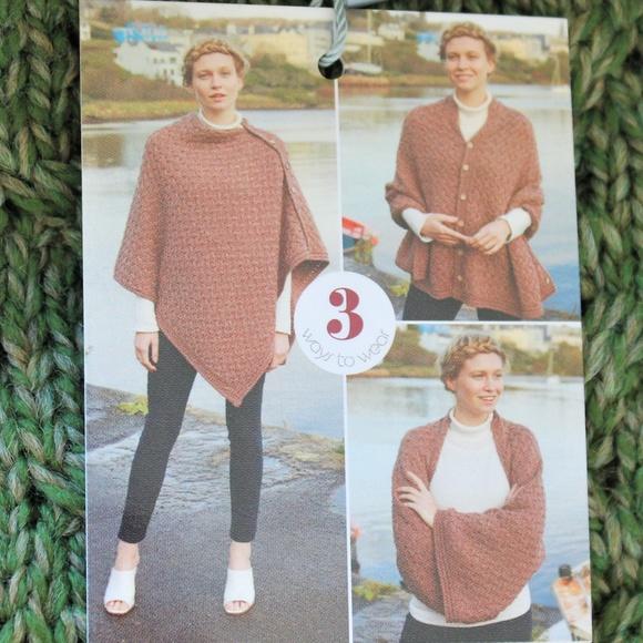 The Shepherd's Knot Sweaters - New Aran Wool 3 Way Poncho Shrug Wrap Green Cream